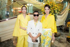 Kỳ Duyên và Đỗ Mỹ Linh bên nhà thiết kế Adrian Anh Tuấn