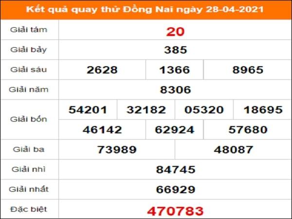 Quay thử Đồng Nai ngày 28/4/2021 thứ 4